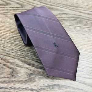 Yves Saint Laurent Solid Purple Stripe Tie